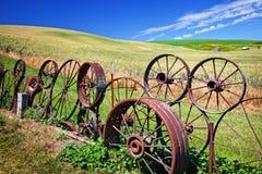 Stahlrad-Zaun stellt Palouse Washington auf Stockfotografie
