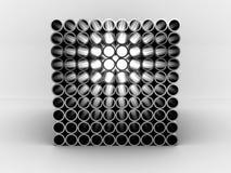 Stahlrohre getrennt auf weißem Hintergrund. 3D Stockfotos