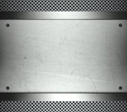 Stahlschablone mit Exemplarplatz-Metallhintergrund Lizenzfreie Stockfotos