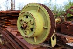 Stahlschienenrad stockfoto