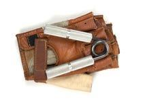 Stahlsportgreifer mit Handschuhen Stockfoto