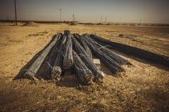 Stahlstangen in der Wüste Stockfotos