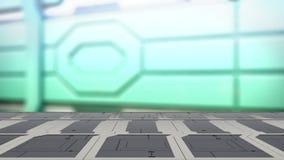 Stahltabelle auf einem Raumschiff, einem Sciencefiction Hintergrund - Dose benutzt für Anzeige oder einer Montage Ihre Produkte 3 stock abbildung