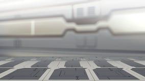 Stahltabelle auf einem Raumschiff, einem Sciencefiction Hintergrund - Dose benutzt für Anzeige oder einer Montage Ihre Produkte 3 lizenzfreie abbildung