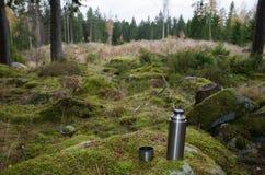 Stahlthermosflasche auf einem Felsen im Wald Lizenzfreie Stockfotografie