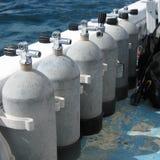 Stahlunterwasseratemgerätbecken Stockfotos