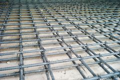 Stahlwerk für Verstärkung des konkreten Bodens Stockfotografie