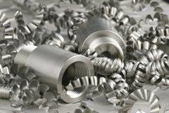 Stahlwerkstück und turnings Lizenzfreies Stockbild