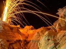 Stahlwolle über Farben-Bergwerk Stockfotos