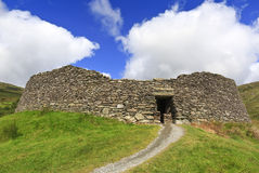 Staigue Fort, a ruined Iron Age stone ring fort stands on a hillside near Sneem, County Kerry, Ireland.