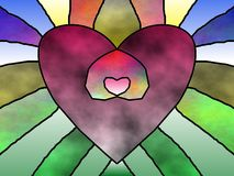 Stain glass heart in heart Stock Images
