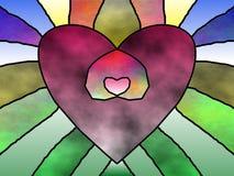 Stain glass heart in heart vector illustration