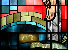 Stain Glass II. Father Forgive Them Royalty Free Stock Photo