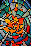 Stain glass pattern. Beautiful flower stain glass pattern background Stock Photo