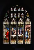 Stain glass window depicting The raising of the son of the widow of Nain, an account of a miracle by Jesus royalty free stock image