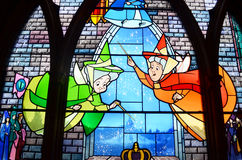 Stain glass window in disney castle Stock Image