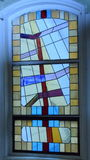 Stain glass window over 100 yrs old. Stain glass window over 100 years old, converted church Emlenton, Pennsylvania, historic Royalty Free Stock Photography