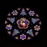Stain Glass Windows. A beautiful circular stain glass window in a church Stock Photo