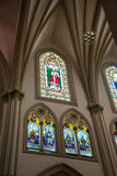 Stain glass windows of a cathedral Stock Images