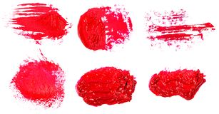 Stain of oil red paint on white. Set. Stain of oil red paint on white background. Set royalty free stock photo