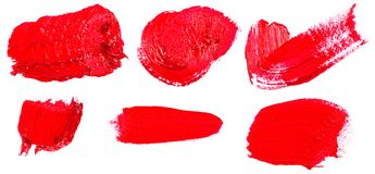 Stain of oil red paint on white. Set. Stain of oil red paint on white background. Set royalty free stock photos