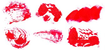 Stain of oil red paint on white. Set. Stain of oil red paint on white background. Set stock images