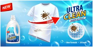Stain remover, ad vector template or magazine design. Ads poster design on blue background with white t-shirt and stains. For your design royalty free illustration
