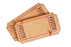 Blank old torn tickets isolated white background. Pair of old stained and torn blank admission tickets on a white background stock photos