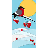 Stained with bullfinch on a branch of rowan. Vector stained with bullfinch on a branch of rowan stock illustration