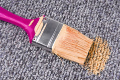 Stained carpet with paint brush Stock Photos