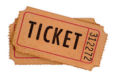 Old ticket isolated white background Royalty Free Stock Photos