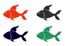 Stained fish - cdr format. Set of four different stained coloured fish Royalty Free Stock Image