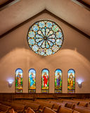 Stained glas windows in the Hope Church Stock Photos
