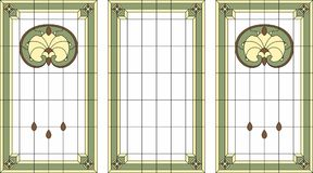 Stained-glass επιτροπή σε ένα ορθογώνιο πλαίσιο Το κλασικό παράθυρο, αφαιρεί τη floral ρύθμιση των οφθαλμών και των φύλλων στο st Στοκ Εικόνες