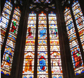 Stained glass_1. Stained glass of a catholic cathedral in Toulouse, France stock image