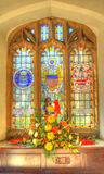 The Stained Glass. A commemorative stained glass window in a church royalty free stock photos