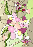 Stained-glass. Floral abstract illustration of the stained-glass windows royalty free illustration