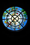 Stained Glass. Window with images of parrots Royalty Free Stock Photography
