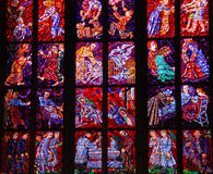 Stained glass. Church window from a St. Vitus cathedral in Prague Castle , Prague, Czech Stock Image