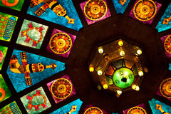 Stained Glass. Ceiling in an old Souq in Muscat, Oman Stock Photography