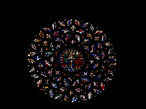 Stained Glass. Church stained glass Rose Window: Barcelona, Spain Stock Photo