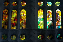 Stained glass. Sagrada familia cathedral colorful stained glass Stock Photo