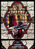Stained glass. The stained glass windows of the Basilica of the Immaculate Conception in Lourdes, France Stock Photos