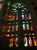 Stained Glass. Window in La Sacrada Familia, Antoni Gaudí's cathedral in Barcelona Royalty Free Stock Images