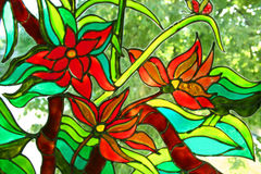 Stained glass. A view with stained glass window details.I am the author of this painting Stock Photography