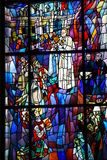 Stained glass. This stained glass shows the pope and his link to Fatima in this beautiful church in Zakopane Poland Stock Images