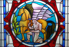 Stained glass. A colourful stained glass window Royalty Free Stock Photos