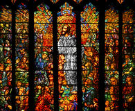 Stained Glass. Stained colorful glass depicting Jesus teaching Royalty Free Stock Photography