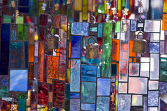Stained Glass. Colorful vitrage hanging in the market place Stock Photos