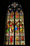 Stained glass. Wonderful stained glass in Cologne cathedral church Royalty Free Stock Image